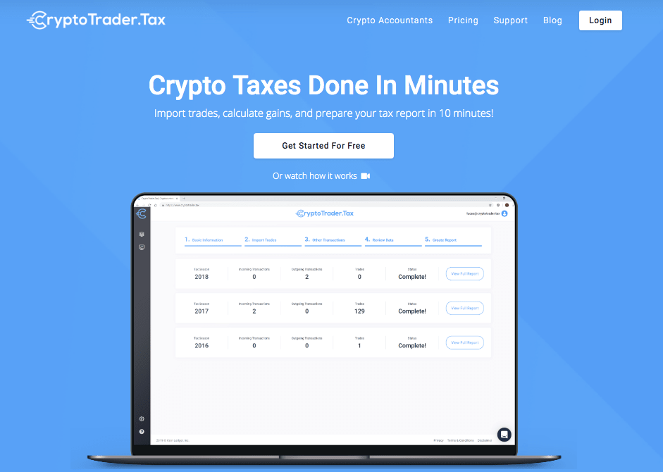 Cryptotrader.Tax Main Page