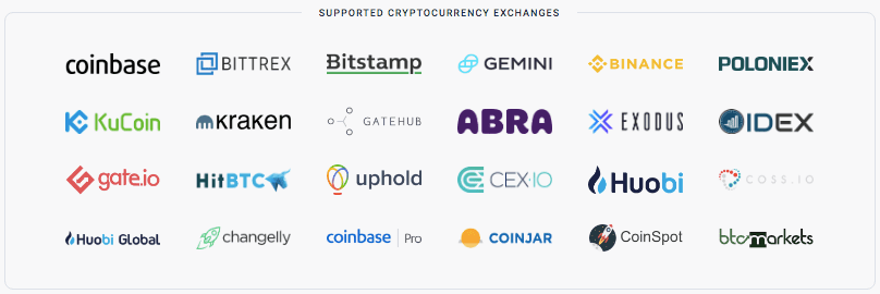 Cryptotrader.Tax Supported Exchanges