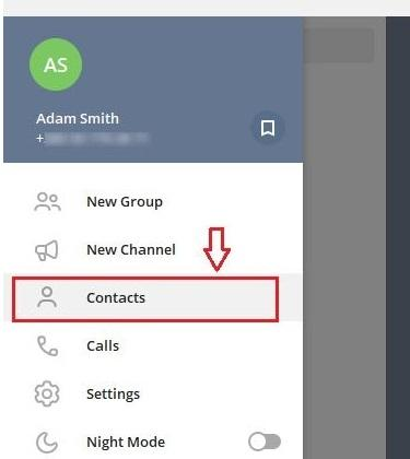 "choose ""Contacts"" in telegram"
